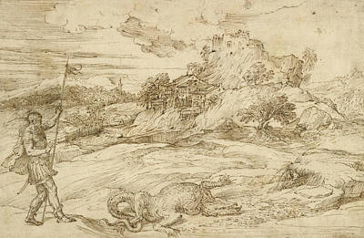 Dragon Drawing - Landscape With St. Theodore Overcoming The Dragon by Titian