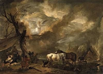 Landscape With The Annunciation To The Shepherds Print by Philips