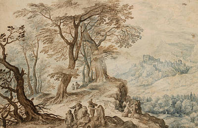 Flemish Drawing - Landscape With Tobias And The Angel by Jan Brueghel the Younger