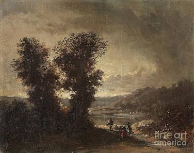 Jean Charles Langlois Painting - Landscape With Travellers by Celestial Images