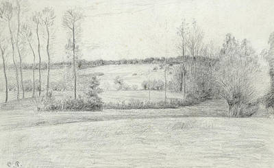 Landscape With Trees Print by Camille Pissarro
