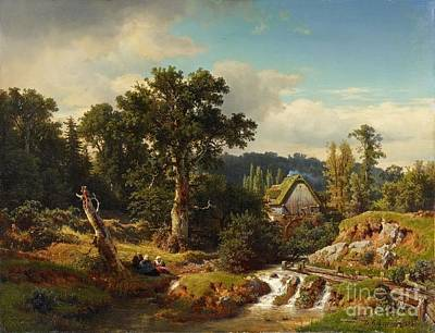 Water Mills Painting - Landscape With Water-mill by MotionAge Designs