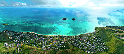 Photograph - Lanikai Over View by Sean Davey