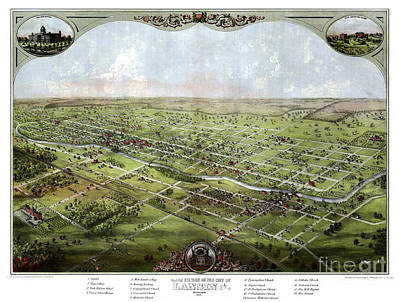 Vintage Map Painting - Lansing - Michigan - 1866 by Pablo Romero