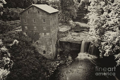 Waterfall Photograph - Lanterman's Mill Sepia 2 by Pittsburgh Photo Company