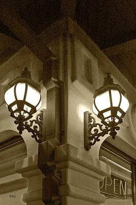 Quiet Time Corner Photograph - Lanterns - Night In The City - In Sepia by Ben and Raisa Gertsberg