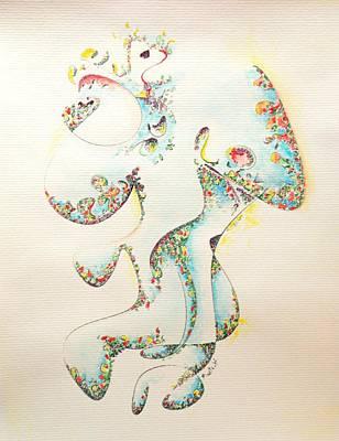 Fertility Painting - Lapis Lazuli Bejeweled Fertility Goddess by Dave Martsolf