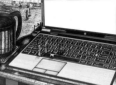 Electronic Drawing - Laptop by Richie Montgomery