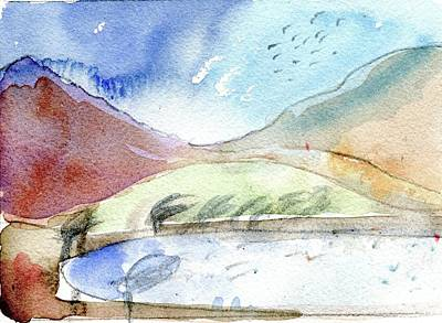 Lapwing Drawing - Lapwing Tarn by Elizabetha Fox