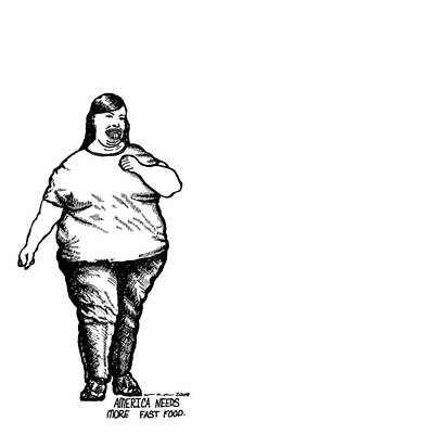 American Food Drawing - Large American Lady by Karl Addison