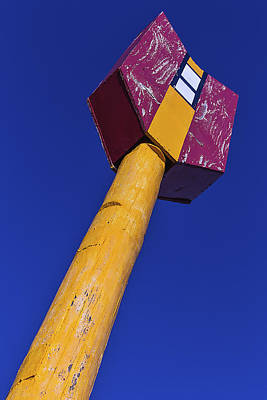 Weatherworn Photograph - Large Arrow Sign by Garry Gay