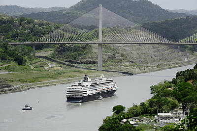 Panama Photograph - Large Cruise Ship Passing Under Panama's Centennial Bridge, Panama Canal by Dani Prints and Images