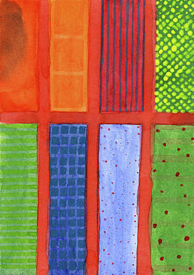 Grid Painting - Large Rectangle Fields Between Red Grid  by Heidi Capitaine