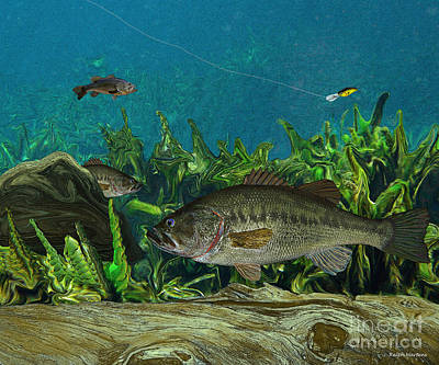 Fly Fisherman Painting - Largemouth Bass by Ralph Martens