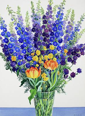 Delphinium Painting - Larkspur And Delphiniums by Christopher Ryland