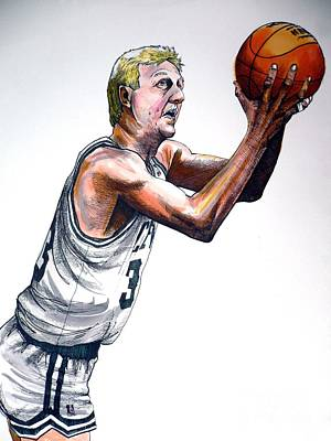 Sports Drawing - Larry Bird by Dave Olsen