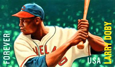 Larry Doby Print by Lanjee Chee