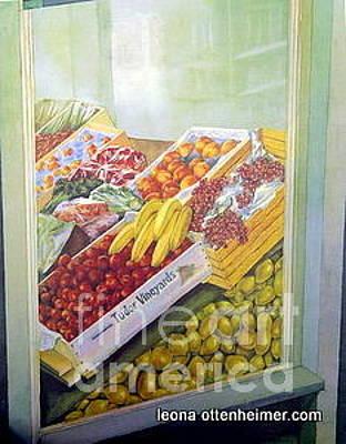 Plumb Painting - Lars Fruit Store St. John's Nl by Leona Ottenheimer