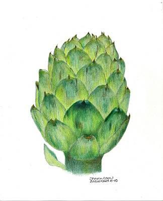 Culinary Drawing - l'artichaut The Artichoke by Sharon Blanchard