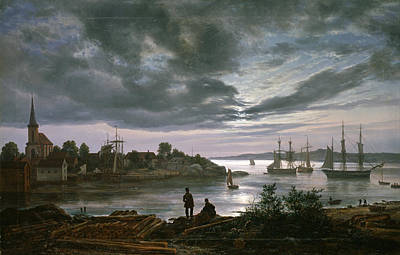 Johan Christian Dahl Painting - Larvik By Moonlight by Johan Christian Dahl