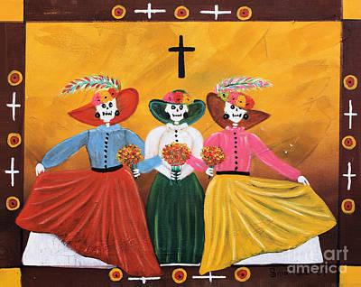 Oaxacan Painting - Las Catrinas by Sonia Flores Ruiz