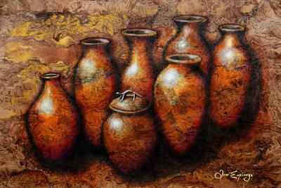 Handmade Paper Mixed Media - Las Copuchas by Jose Espinoza