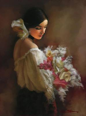 Women Painting - las Flores de mi Corazon by Carver Shivers