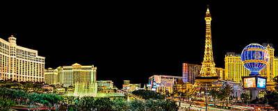 Eiffel Tower Photograph - Las Vegas At Night by Az Jackson