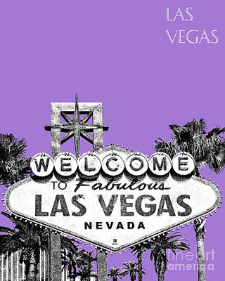 Signed Digital Art - Las Vegas Sign - Purple by DB Artist