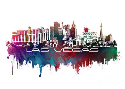 Poker Digital Art - Las Vegas Skyline City Blue by Justyna JBJart
