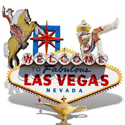 Icon Mixed Media - Las Vegas Symbolic Sign On White by Gravityx9 Designs