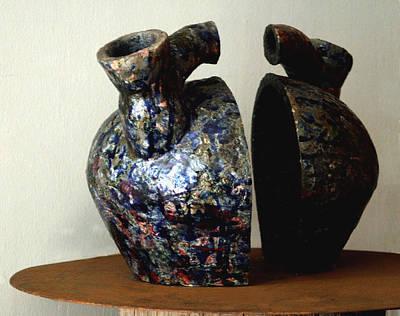 Raku Sculpture - Las Venas Abiertas De America Latina by Madalena Lobao-Tello