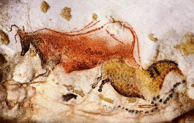 Chauvet Cave Painting - Lascaux Cow And Horse by Weston Westmoreland