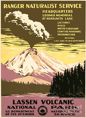 Poster Painting - Lassen Volcanic Park Ranger Naturalist Service by MotionAge Designs