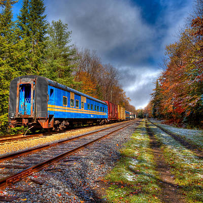 Train Photograph - Last Bit Of Autumn On The Tracks by David Patterson