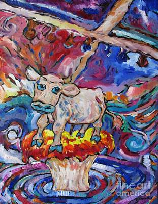 Last Strand Painting - Last Cow Standing by Dianne  Connolly