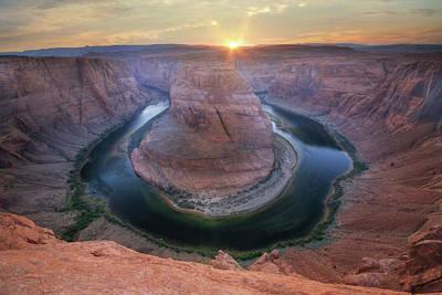 Grand Canyon Mixed Media - Last Light At Horseshoe Bend by Lori Deiter