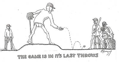 Old Pitcher Drawing - Last Throes by R  Allen Swezey