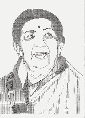 Typewriter Drawing - Lata Mangeshkar - Nightingale Of Indian Music by Uday Talwalkar
