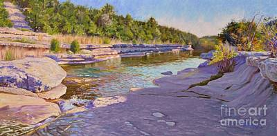 Park Scene Painting - Late Afternoon At Bull Creek, Austin, Texas. by Jose Miguel Blanco