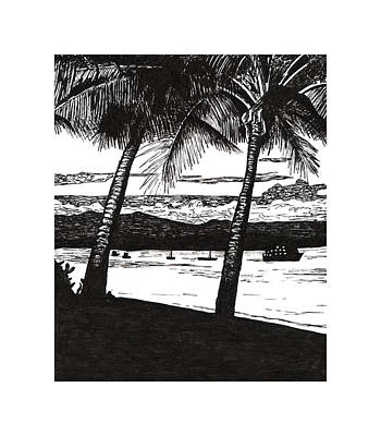 Dunk Island Drawing - Late Afternoon At Dunk Island by Monica Hudson