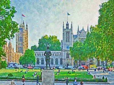 Westminster Abbey Digital Art - Late Afternoon In Parliament Square by Digital Photographic Arts