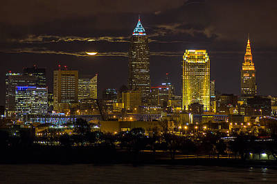 Late Autumn Moon Over Cleveland Print by J Allen