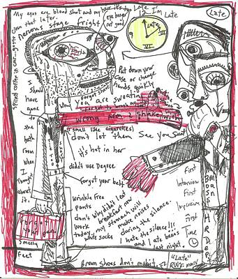 Art Brut Drawing - Late by Robert Wolverton Jr