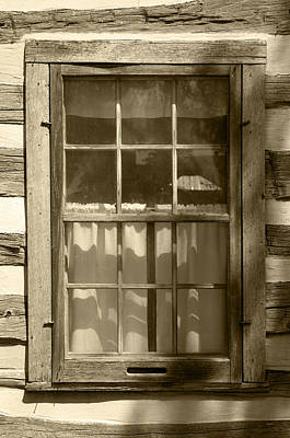 Lattice Window On Log Cabin Print by Donald  Erickson