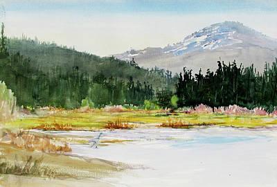 Lassen Painting - Latuer Butte From Lake Mccumber by Howard Luke Lucas