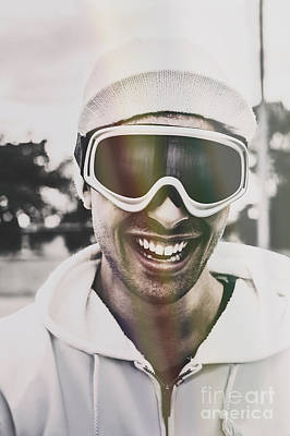 Skiing Action Photograph - Laughing Man Wearing Ski Mask On Winter Holiday by Jorgo Photography - Wall Art Gallery