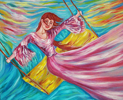Spirit Catcher Painting - Laughter On The Swings by Katreen Queen