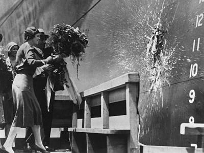 Baptizing Photograph - Launching The Ss Oriente by Underwood Archives