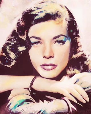 Digital Art - Lauren Bacall - Halftone by Darlanne